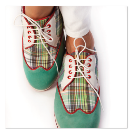 Green madras ladies golf shoes are the final word in retro style and are not just for golf any more. Comfy & water repellant on all terrains. Look good. Feel great! Available at equiptforplay.com