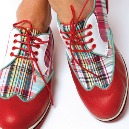 1-WINGTIP-red madras-ladies golf shoes-EQUIPT FOR PLAY