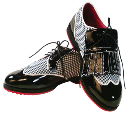 2-WINGTIP-black & white-womens golf shoes-EQUIPT FOR PLAY