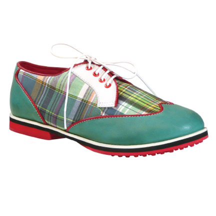 3-WINGTIP-green madras-womens golf shoes-EQUIPT FOR PLAY
